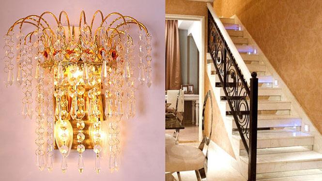 现代简约水晶壁灯客厅卧室床头过道走道灯具灯饰w1135