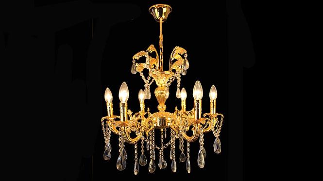 欧式吊灯 锌合金蜡烛灯6头客厅灯具 奢华金色吊灯6头D104P1