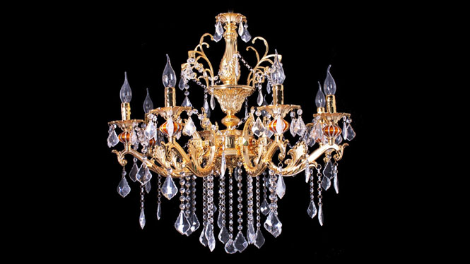 欧式吊灯8头 锌合金蜡烛灯客厅灯具 奢华金色吊灯8头D105P1