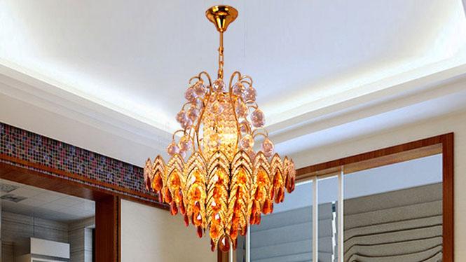水晶吊灯 传统金色吊灯客厅顶灯卧室家居照明灯饰具11头 A230P1