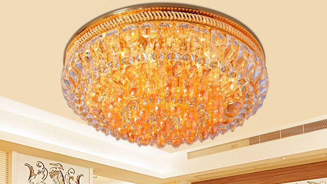 金色客厅灯吸顶灯家居照明灯具饰水晶等卧室灯86086