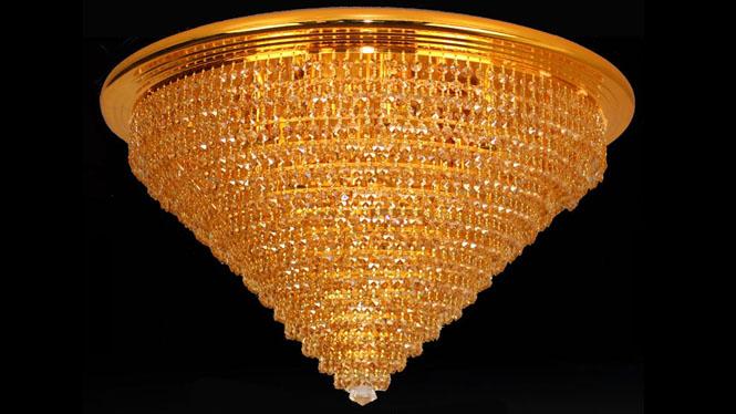 欧式金色客厅圆形灯具水晶灯吸顶灯卧室灯6371