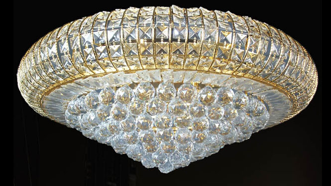 客厅灯具 金色传统客厅灯具水晶灯现代简约客厅灯10104