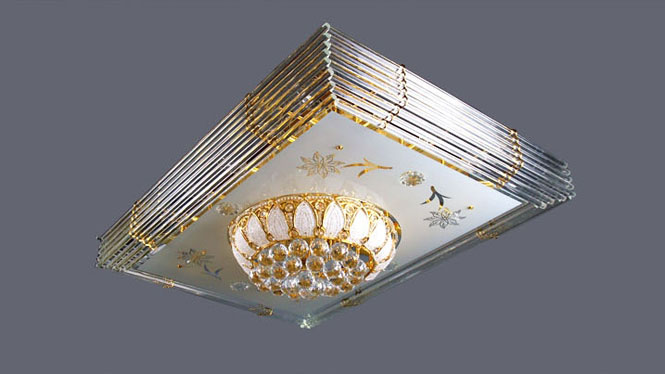 led吸顶灯吸顶长方形批发金色客厅灯水晶吸顶灯 6016