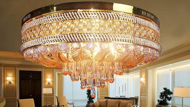 金色圆形LED吸顶灯客厅卧室灯饰遥控式灯 9021