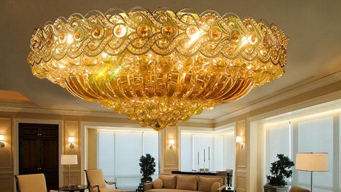 传统金色酒店工程灯客厅led吸顶灯饰具批发 9077