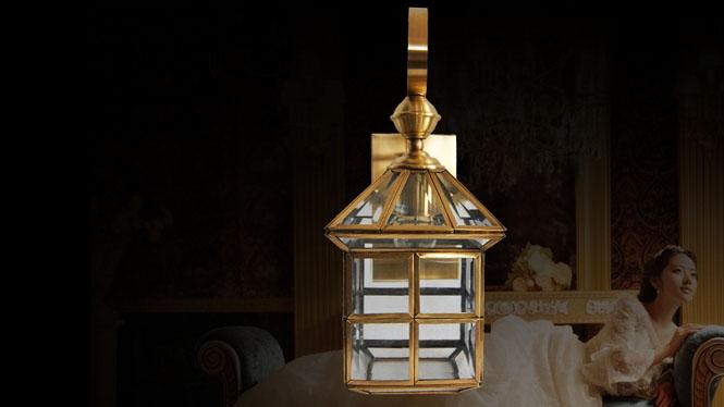 欧式全铜壁灯过道走廊阳台灯仿古创意玻璃焊锡灯B707S