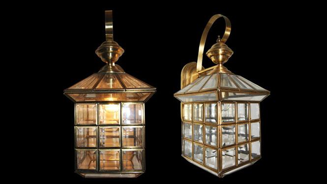 欧式复古铜壁灯个性创意全铜焊锡过道壁灯户外防水玻璃壁灯B707M