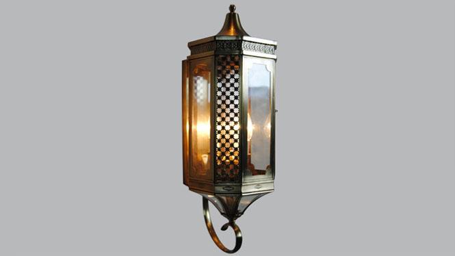 欧式复古铜壁灯 个性创意客厅背景墙壁灯 走廊过道灯B07-3S
