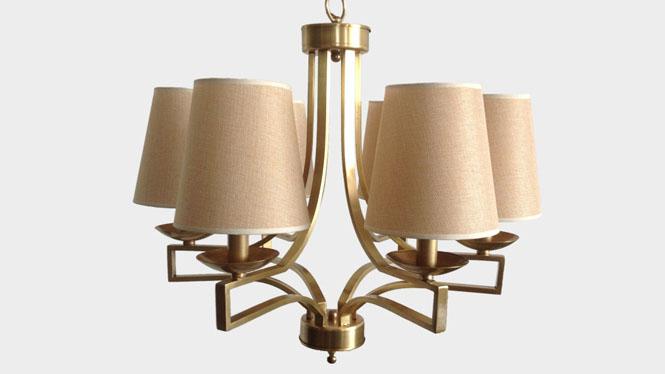 新款欧式复古创意客厅布艺吊灯个性时尚卧室餐厅灯具全铜麻布吊灯LD2739A-6
