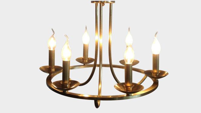美式复古全铜蜡烛吊灯 美式复古全铜卧室吊灯 创意蜡烛客厅吊灯LD2737A-6