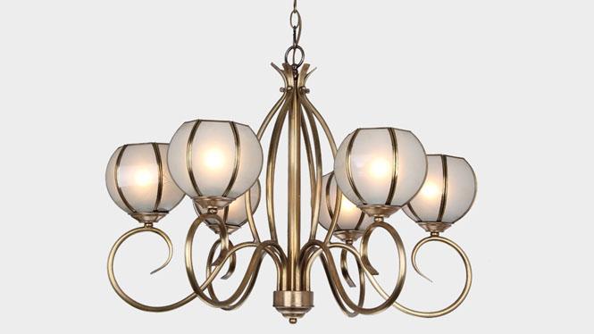 欧式吊灯全铜led吊灯客厅灯复古创意卧室全铜吊灯餐厅吊灯LD2301-6