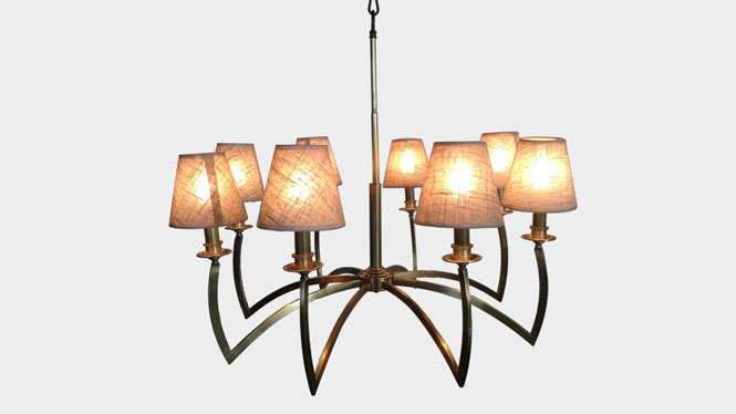 新品创意吊灯 时尚大气北欧布艺客厅吊灯 个性卧室餐吊灯LD2741A-8