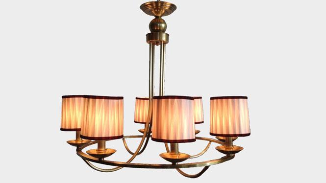 欧式蜡烛吊灯 时尚别墅欧式全铜会议室吊灯 创意布艺吊灯灯饰布罩LD2737B-8