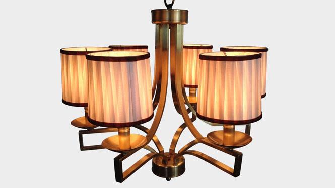 现代简约客厅led吊灯 创意唯美卧室布艺吊灯 干叶米黄色布艺吊灯LD2739B-6