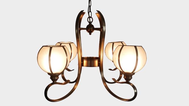 铜吊灯欧式客厅全铜吊灯复古创意卧室餐厅全铜吊灯LD2303-4