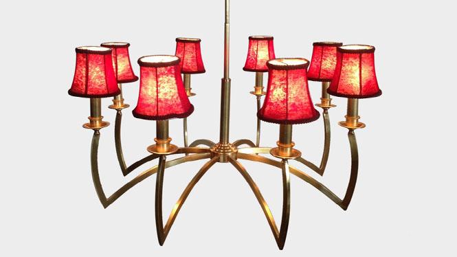 全铜led吊灯欧美简约照明灯具仿古羊皮纸吊灯 创意吊灯LD3741B-8