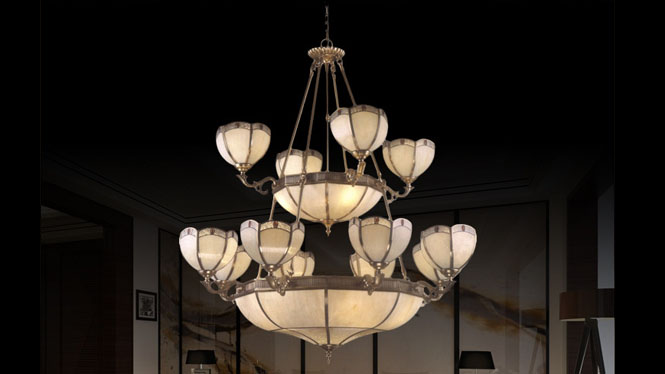 欧美新款创意吊灯复古铜吊灯个性蜡烛餐厅卧室二层吊灯灯D001