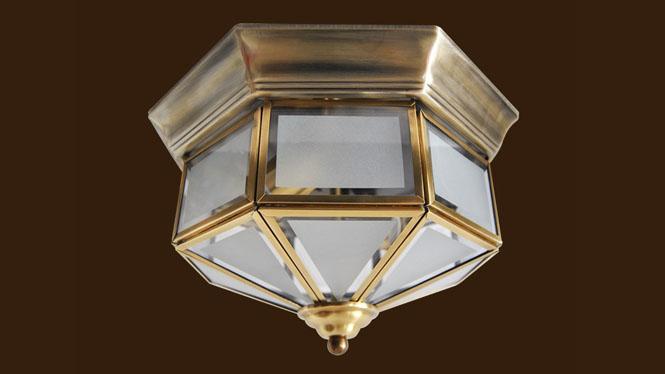 led吸顶灯 欧式复古全铜灯 创意卧室餐厅吸顶灯 简约客厅灯X09M