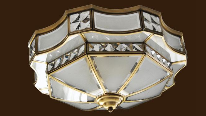 奢华欧式铜玻璃吸顶灯 欧式别墅客厅吸顶灯 欧式时尚客厅吸顶灯X01