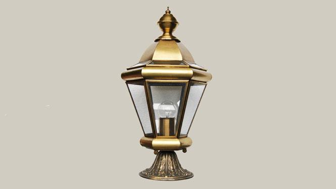 围墙创意复古欧式柱头灯户外庭院防水全铜焊锡灯ZT03