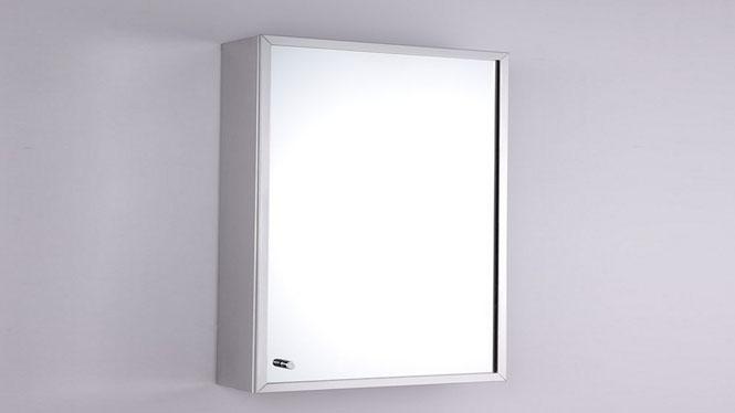 不锈钢镜柜 单门镜柜 全不锈钢浴室柜 卫生间镜子带置物柜400×600mm GD6131