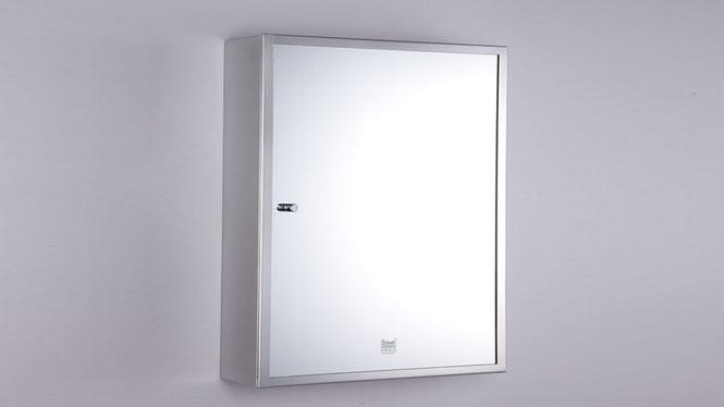 简约卫浴柜 不锈钢镜柜 单门浴室柜镜 卫生间镜子带置物柜400×600mm GD6128