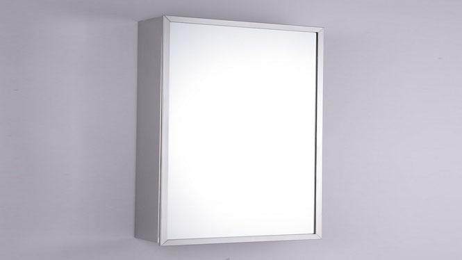 简约浴柜 不锈钢镜柜 单门浴室柜镜 卫生间镜子带置物架400×600mm GD6131L