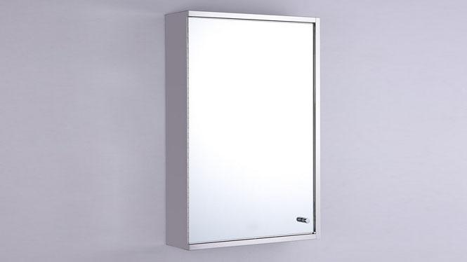 单开门不锈钢镜柜 浴室柜镜 卫生间镜子带收纳柜组合400×600mm  GD6107