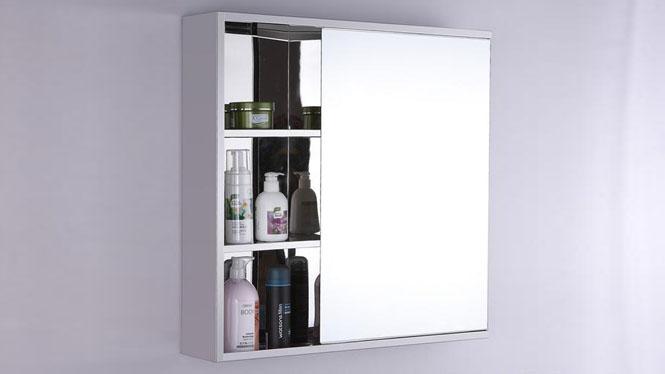 单门镜柜 简约浴室镜柜 不锈钢浴室柜 卫生间镜子置物柜600×600mm GD6108