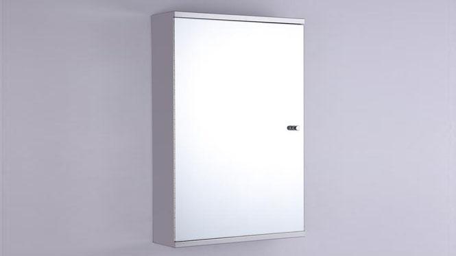 单开门不锈钢镜柜 卫生间镜子带置物架组合400×600mm GD6111B