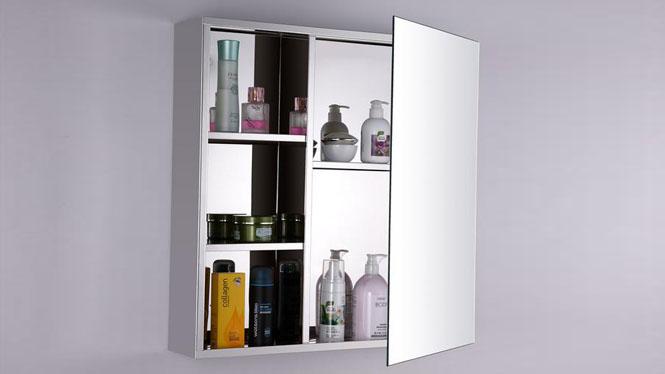 不锈钢浴室柜 单门镜柜 卫生间镜子带置物柜 小户型卫浴柜600×600mm GD6124