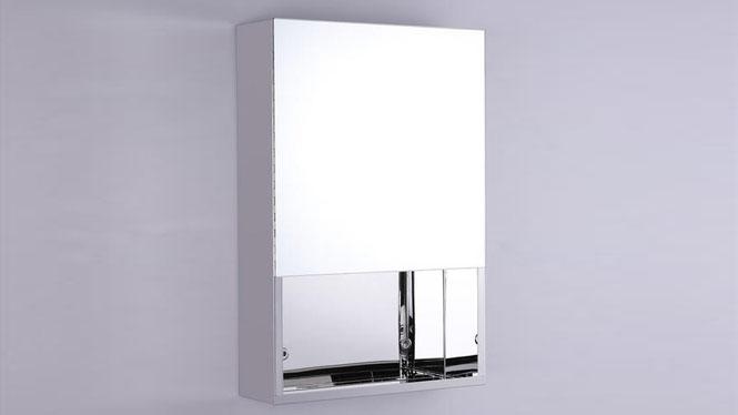 不锈钢镜柜 单门卫生间镜子带置物柜 小户型浴柜400×600mm GD6136