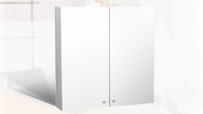双开门镜柜 壁挂不锈钢浴室柜 卫生间镜子带置物柜600×600mm  GD6204