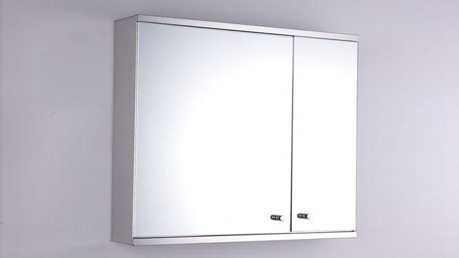 双开门不锈钢浴室镜柜 卫生间镜子置物柜组合500×600mm GD6218B