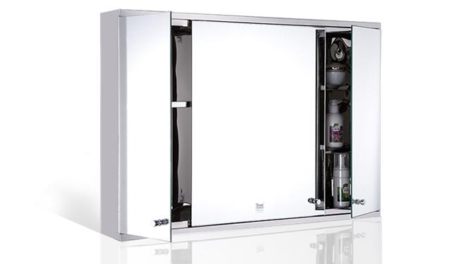 三门不锈钢镜柜 浴室镜柜 小户型镜子置物柜组合900×600mm GD6303A