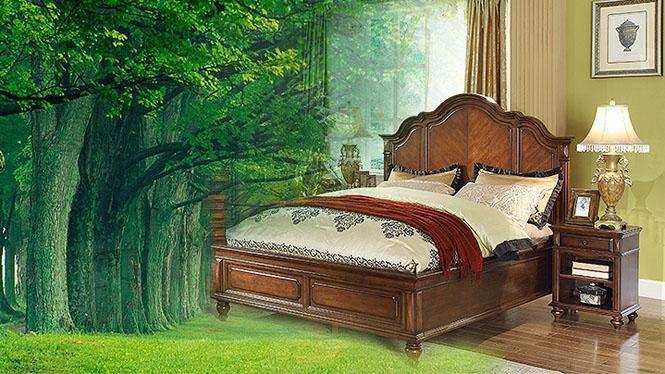 美式乡村婚庆床实木床欧式床卧室大床 1.5米双人床801-61-35