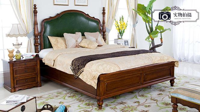 美式乡村全实木床1.5欧式床小户型真皮床双人床1.8米现代婚床家具805-61-35