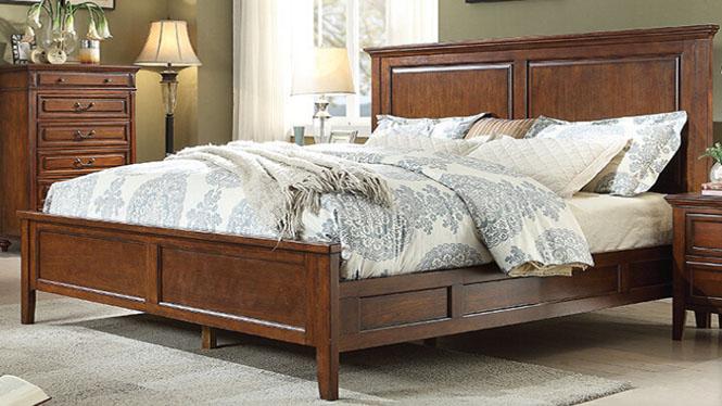 美式实木床欧式双人床1.8米全实木乡村婚床1.5单人床家具606-61-35