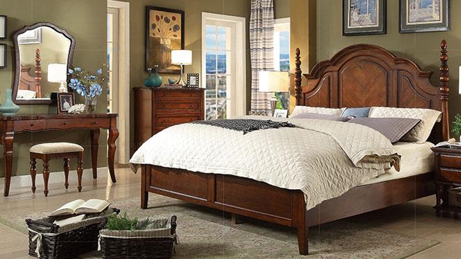 美式乡村全实木床1.5米1.8米美式床婚床家具简约双人床600-61-35