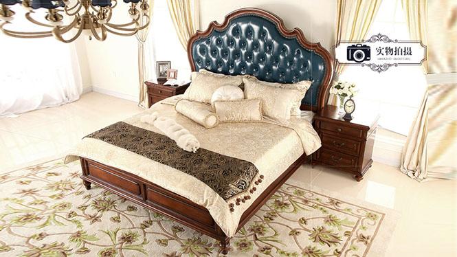 美式真皮床1.8米欧式双人床金丝全实木新古典家具乡村婚床800-61-35