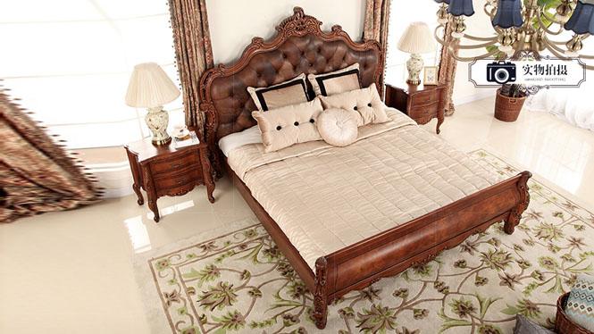 全实木美式乡村真皮床欧式1.8米双人床简约新古典复古雕花床婚床209-61-131