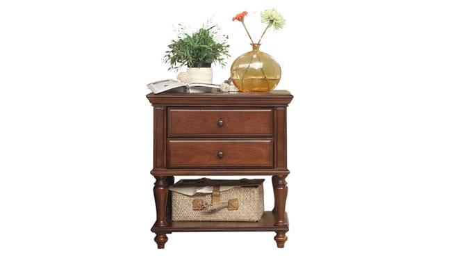 美式全实木床头柜 欧式卧室现代原木色简约烤漆简易储物柜803-62-35