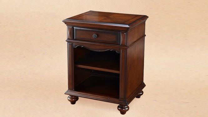 实木床头柜 美式乡村床边柜 欧式卧室古典储物柜 801-62-35