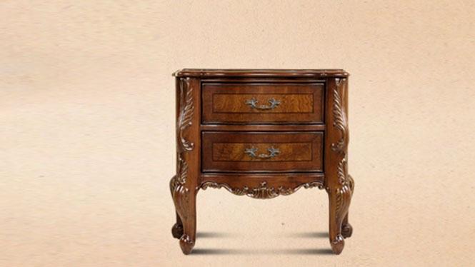 美式乡村实木床头柜欧式雕花复古卧室储物柜烤漆床边柜整装209-62-131