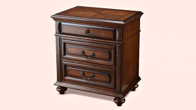 美式乡村全实木床头柜卧室床边柜简易复古储物柜简约整装斗柜800-62-35