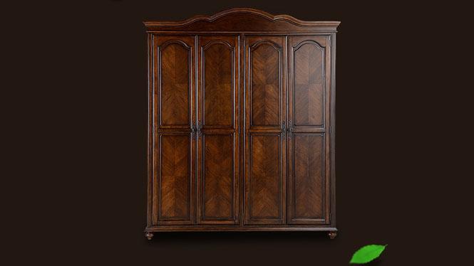 美式全实木四门衣柜橡木衣橱简约板式木质大衣柜800-67-35