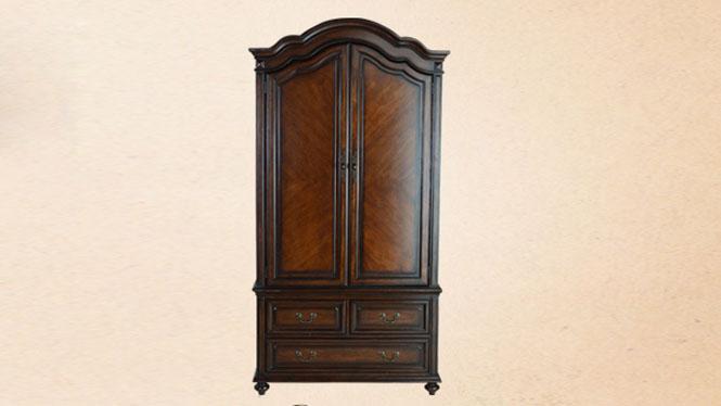 美式全实木橡木衣柜小户型两门木质衣橱收纳家具800-66-35