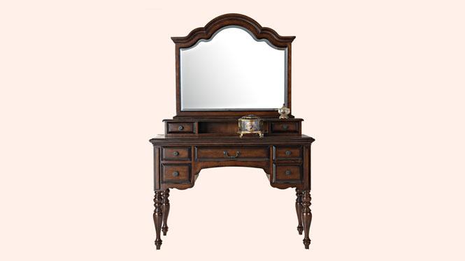 美式乡村卧室梳妆台简约小户型实木化妆桌收纳盒化妆台800-63-35