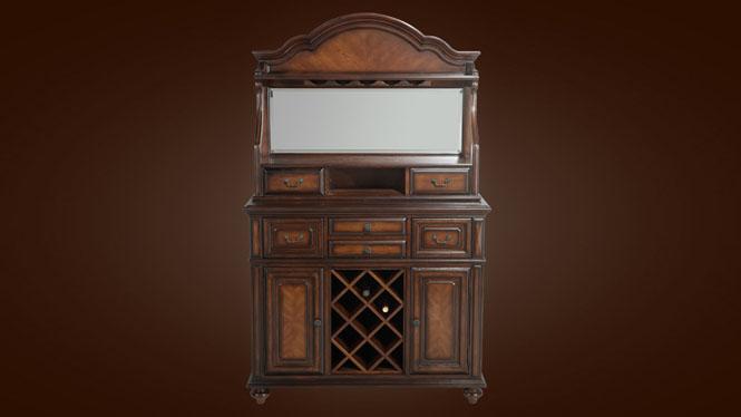 美式乡村实木碗碟柜 餐厅实木酒柜 欧式餐边柜 备餐柜 储物柜800-30-35